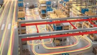 Materialflussbewegungen in einem Warenlager