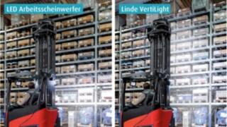 Gegenüberstellung Stapler Beleuchtung mit und ohne VertiLights